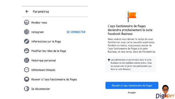 Gestionnaire de page Facebook VS Facebook Business Suite